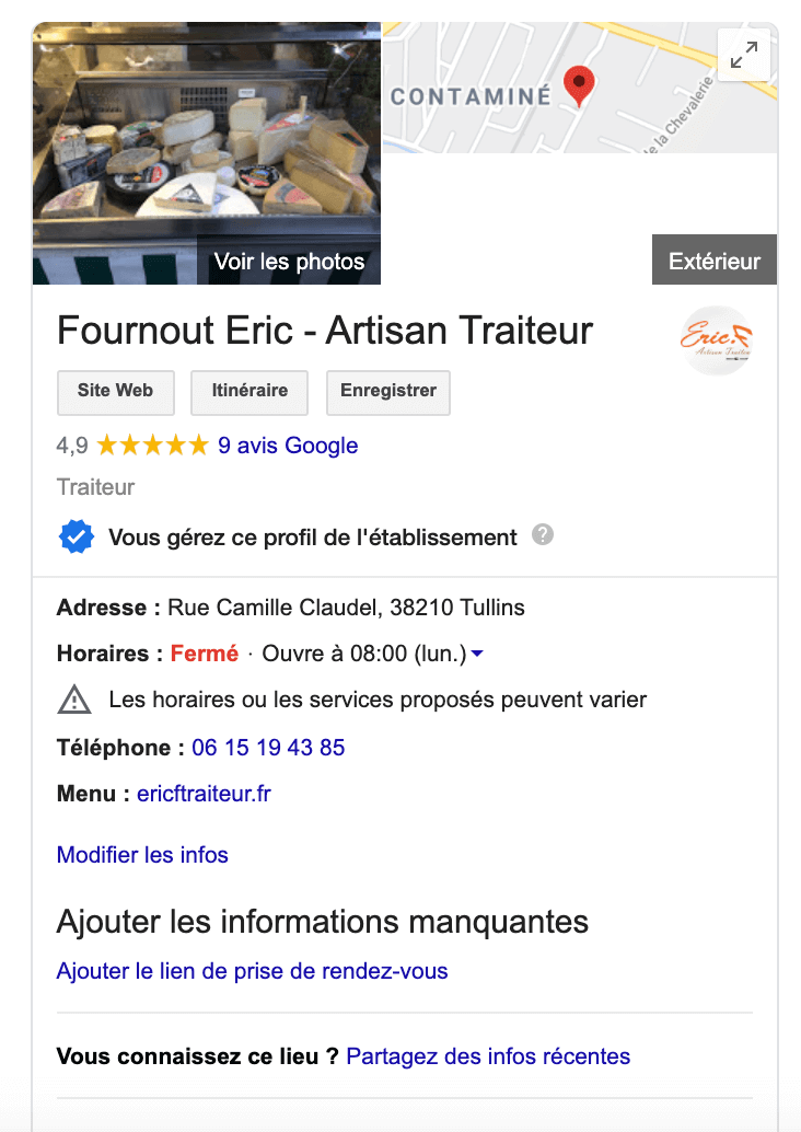 Fiche Google My Business d'un traiteur