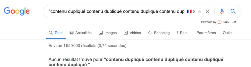 recherche google pour trouver le contenu dupliqué